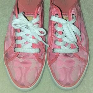 Coach Pink C Signature Tennis Shoes Sneakers 8M